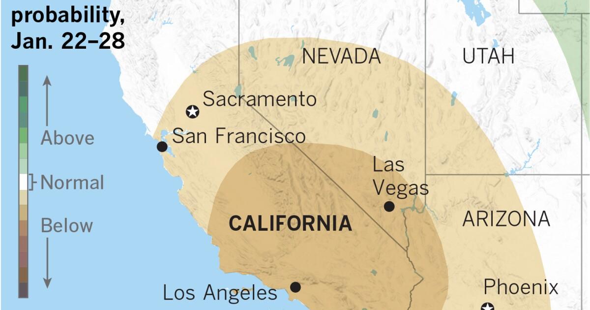 後日の雨、カリフォルニア州南部に復帰していく姿が想定される乾燥した気候