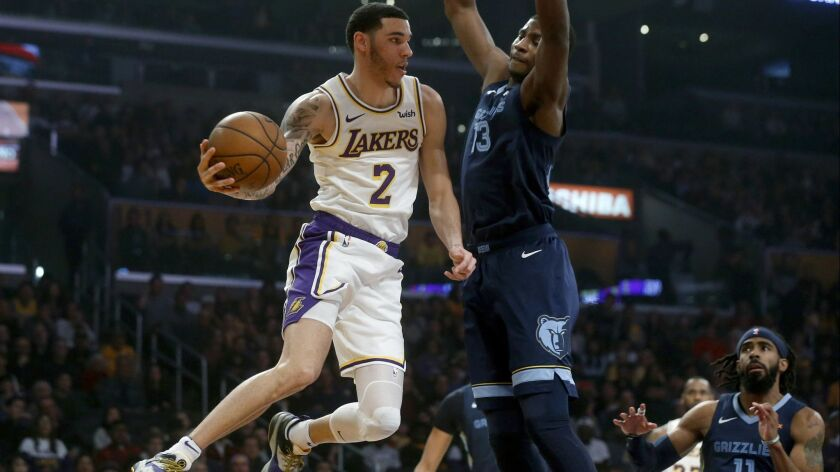 LOS ANGELES, CALIF. -- SUNDAY, DECEMBER 23, 2018: Los Angeles Lakers guard Lonzo Ball (2) attempts a