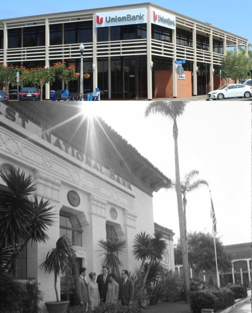 NOW (top): Union Bank dominates the corner of Girard Avenue and Silverado Street. THEN (bottom): The First National Bank building was designed in 1929 by master architect Richard Requa.