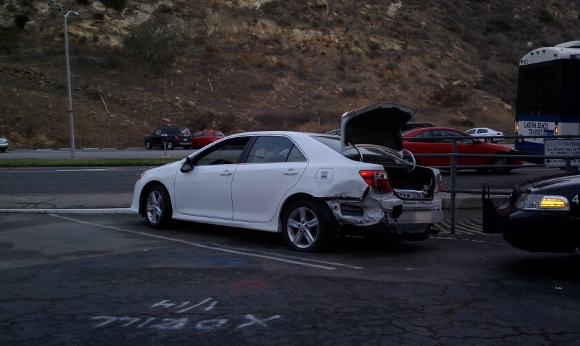 This Toyota Camry led Newport Beach police on a chase south on Coast Highway from Newport to Laguna Beach on Jan. 30. The driver was arrested on suspicion of felony evading a police officer while the passenger was arrested on suspicion of public intoxication.