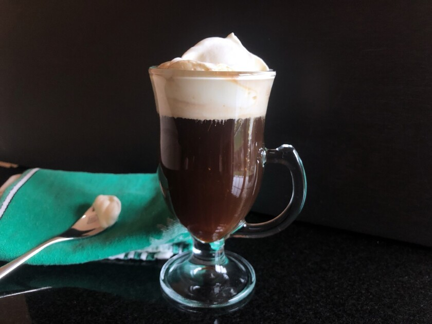 This Jan. 23, 2020 photo shows an Irish coffee in Amagansett, N.Y. (Elizabeth Karmel via AP)