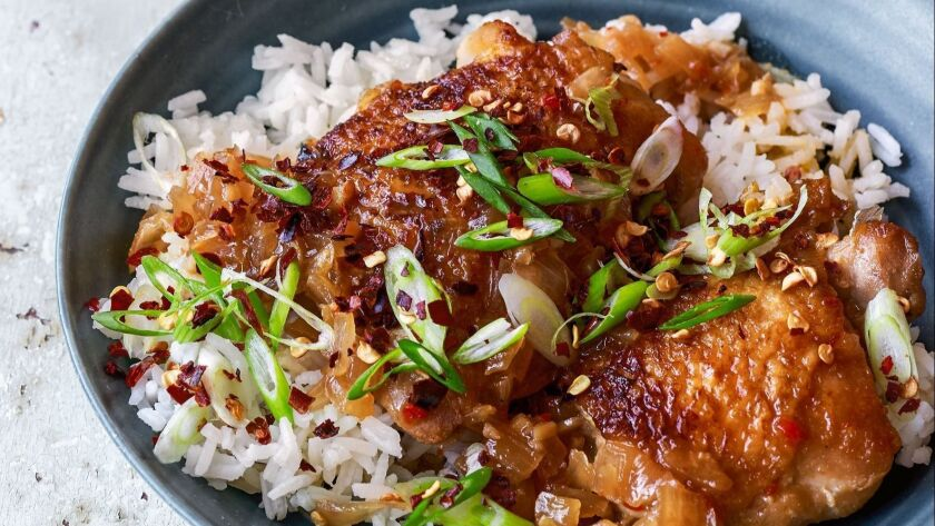Sweet Chili Chicken Thighs from Everyday Dorie © 2018 by Dorie Greenspan. Photography © 2018 by Elle