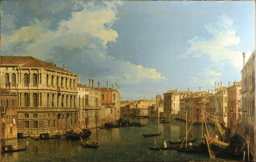 """Giovanni Antonio Canal, called Canaletto (1697-1768), """"The Grand Canal, Venice, looking north-west with the Palazzo Pesaro and the Palazzo Foscarnini. Oil on canvas. On loan fromo the Grasset Collection."""