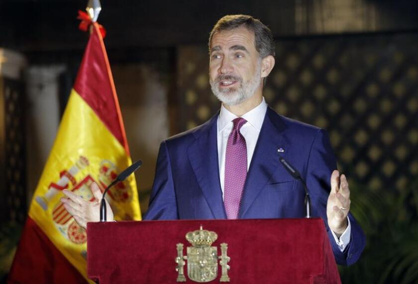 Spain's King Felipe VI makes an address to Spanish expatriates at the Embassy of Spain in Lima, Peru, 13 November 2018. The Spanish king is on a three-day state visit to Peru. EPA-EFE/LAVANDEIRA JR