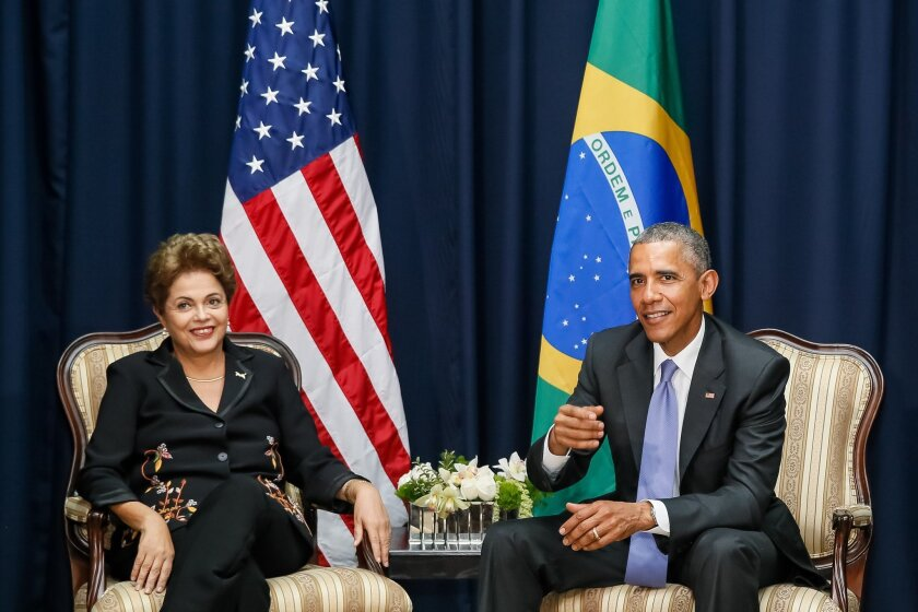 Brazilian President Dilma Rousseff meets with President Obama on the sidelines of the seventh Summit of the Americas in Panama City.