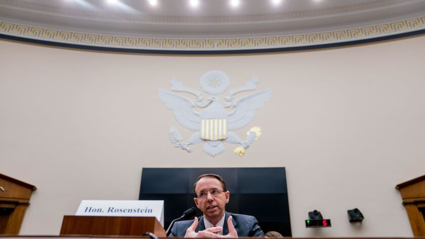 Deputy Atty. Gen. Rod Rosenstein speaks before a House Judiciary Committee hearing on Wednesday. He defended special counsel Robert S. Mueller III from Republican accusations that the investigation into President Trump's allies was tainted by partisan bias.