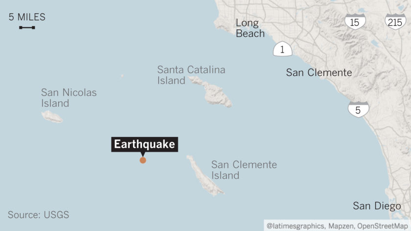 3 5 earthquake strikes offshore from Catalina Island - Los