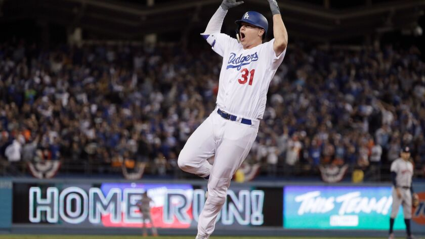 LOS ANGELES, CA, SUNDAY, OCTOBER 31, 2017 - Joc Pederson homers in the seventh inning in game six of