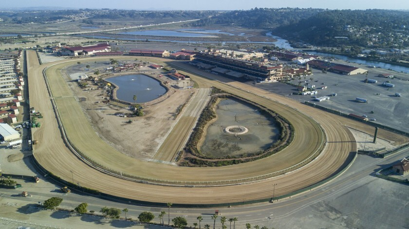 View looking to the east with the horse race track in the foreground at the Del Mar Fairgrounds on Monday, January 14, 2020.