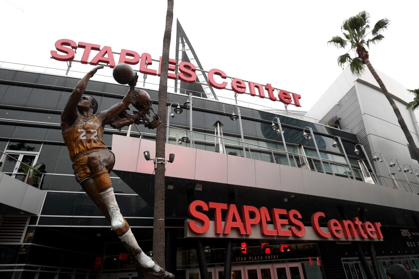 An entrance to Staples Center.