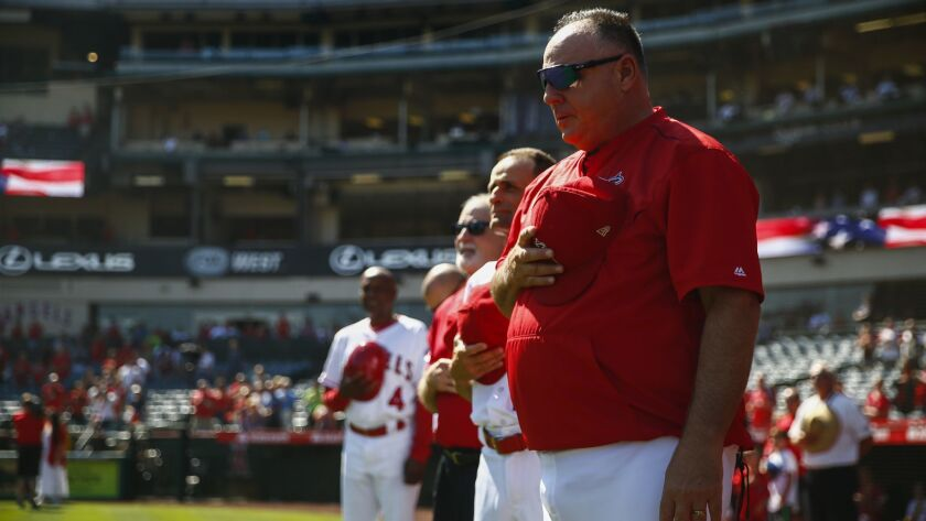 ANAHEIM, CALIF. - SEPTEMBER 30: Los Angeles Angels manager Mike Scioscia during the singing of the N