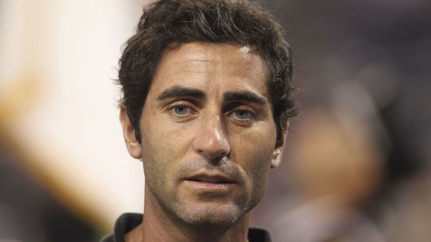 Padres General Manager A.J. Preller before the start of a game against the Brewers at Petco Park.