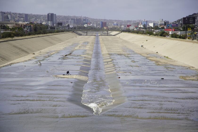 The Tijuana River channel on Feb. 12, 2021 in Tijuana, Baja California.