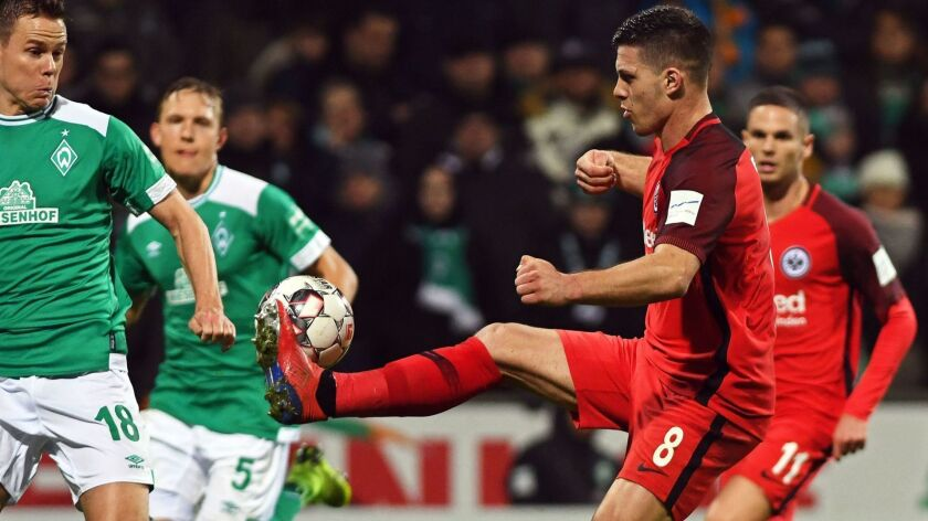 Frankfurt's Luka Jovic tries to control a pass during a Bundesliga game against Werder Bremen on Saturday.