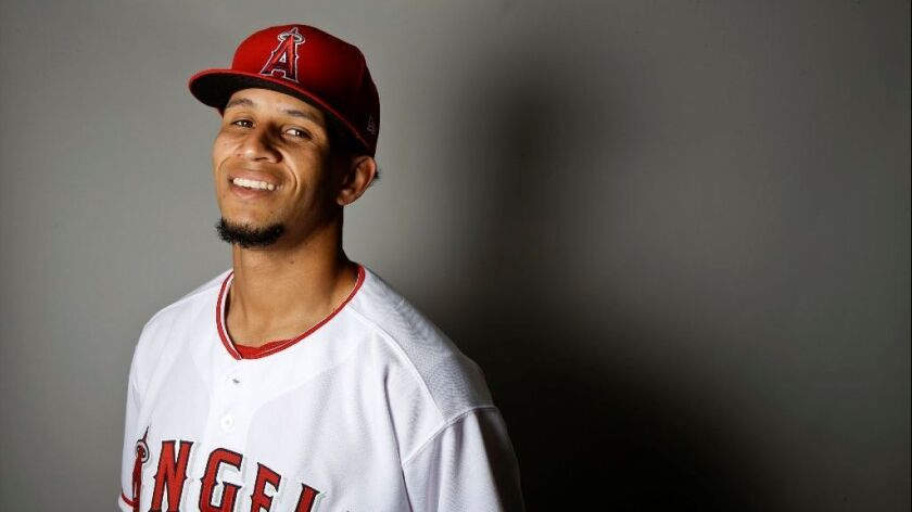 Angels reliever Keynan Middleton poses for a portrait at spring training on Feb. 21.
