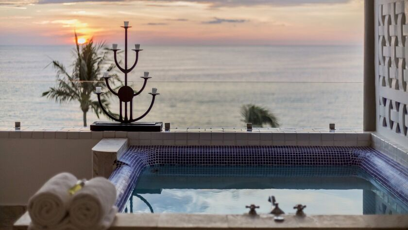 Jacuzzi with a view at Villa Premiere Boutique Hotel in Puerto Vallarta, Jalisco, Mexico.