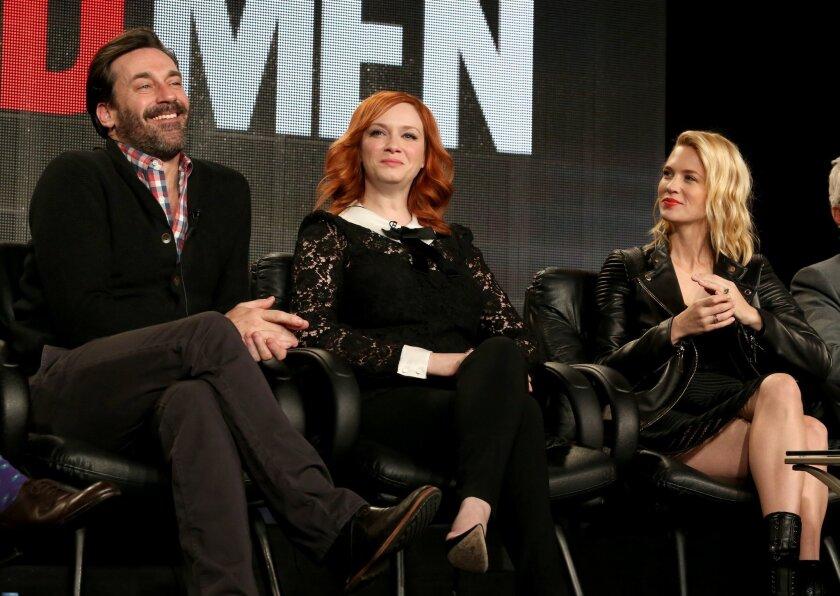 "Jon Hamm, Christina Hendricks, center, and January Jones on the ""Mad Men"" panel at the 2015 Television Critics Assn. press tour Saturday in Pasadena."