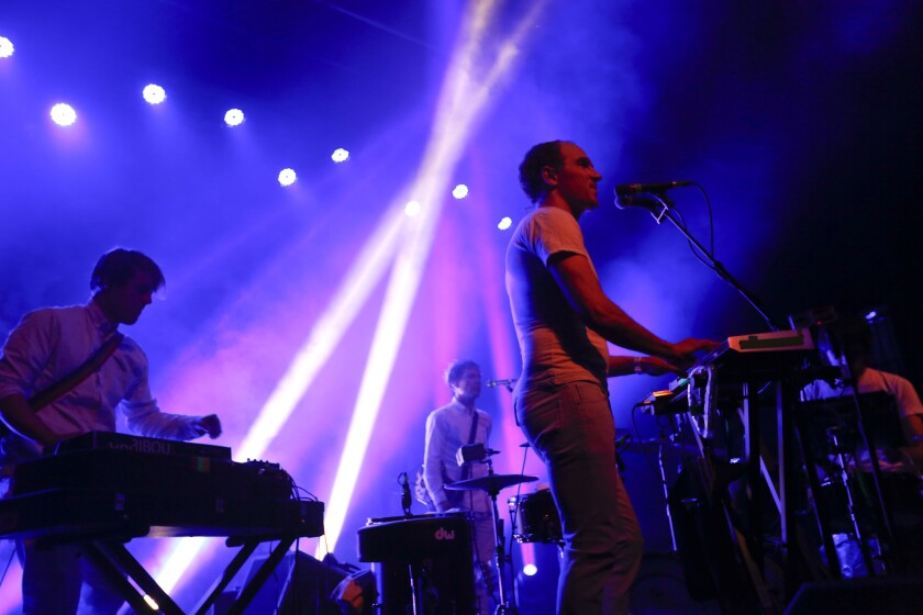 Caribou performs the first of three sold-out shows at the Fonda Theater in Hollywood on Thursday night.