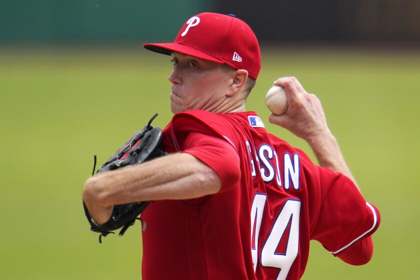 Philadelphia Phillies starting pitcher Kyle Gibson delivers during the first inning of a baseball game against the Pittsburgh Pirates in Pittsburgh, Sunday, Aug. 1, 2021. (AP Photo/Gene J. Puskar)