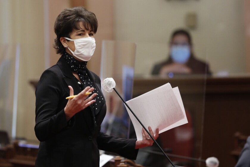State Sen. Connie Leyva, D-Chino, speaks on a bill before lawmakers at the Capitol in Sacramento in July 2020.