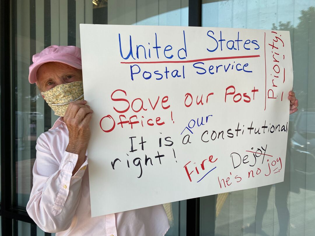 Ola Steenhagen protests outside the Granada Hills post office