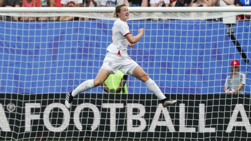 England's Ellen White celebrates after scoring her side's 2nd goal during the Women's World Cup roun