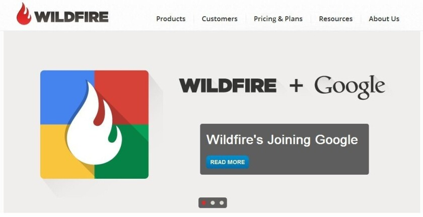 Screen shot of Wildfire's home page. The platform enables brands to manage their pages, apps, tweets, videos, ads and promotions in one central location.