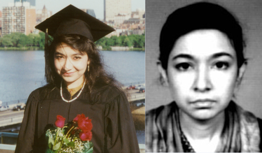 Aafia Siddiqui, left, in a family photo taken after her graduation from Massachusetts Institute of Technology. At right, in a photo released by the FBI in 2004.