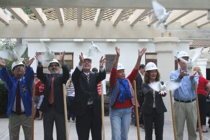After releasing doves as part of  Solana Beach's Veterans Day ceremony, county and city officials broke ground on the Veterans Honor Courtyard at La Colonia Park.