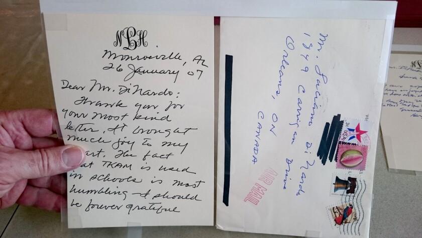 Harper Lee's letter in 2007 to Ottawa high school teacher Luciano DiNardo