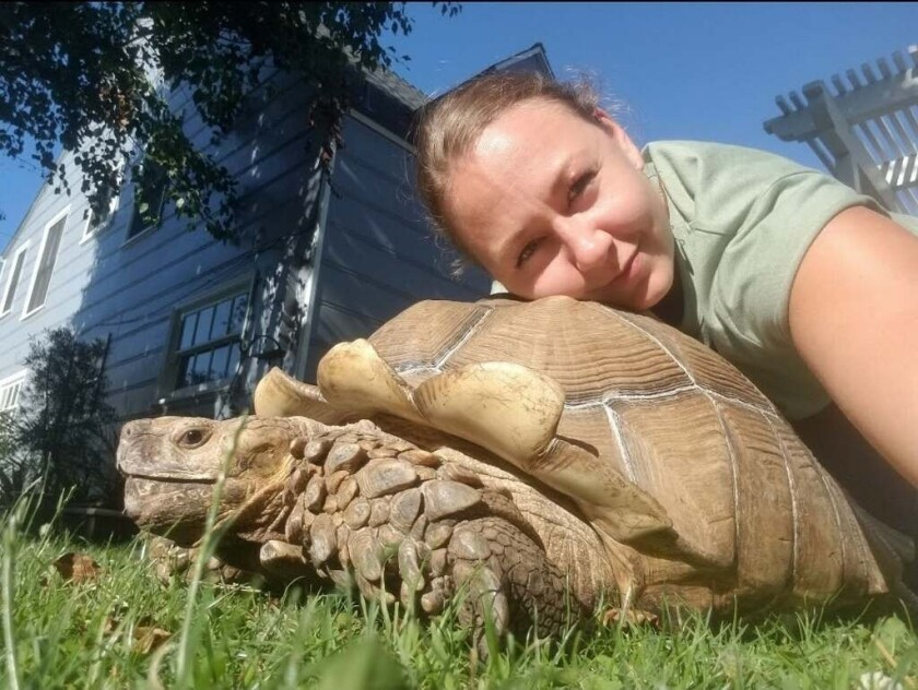 A woman and a tortoise.
