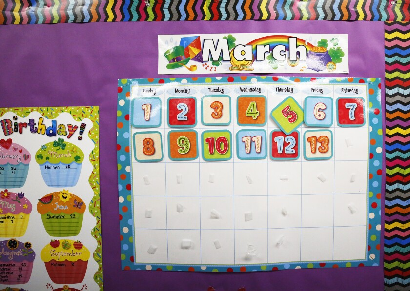 The  calendar stops at March 13 in the second-grade classroom of teacher Emily Miranda at Cerritos Elementary in Glendale.