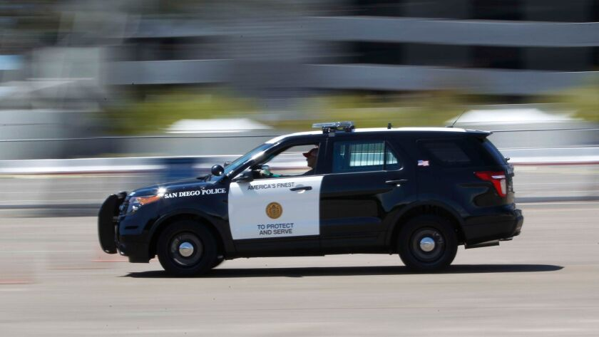 "The San Diego Police department has moved away from Crown Victoria sedans after ford ceased productions and are transitioning to a new crossover vehicle call the Ford ""Interceptor."""