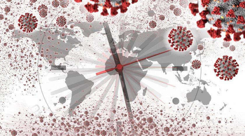 Conceptual health image, Global crisis of Covid-19 virus epidemic over world map.