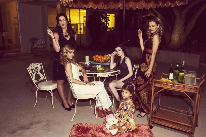 """Jennifer Bartels, from left, Mena Suvari, Lia McHugh, Makenna James and Alicia Silverstone in a promo shot for the new TV Land series """"American Woman."""""""