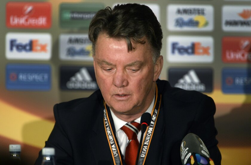 Manchester United coach Louis van Gaal speaks during a press conference after the team lost to FC Midtjylland in the Europa League in Herning, Denmark, Thursday, Feb. 18, 2016. Manchester United's disappointing season hit a new low with a 2-1 loss at Danish champion FC Midtjylland in the Europa Lea