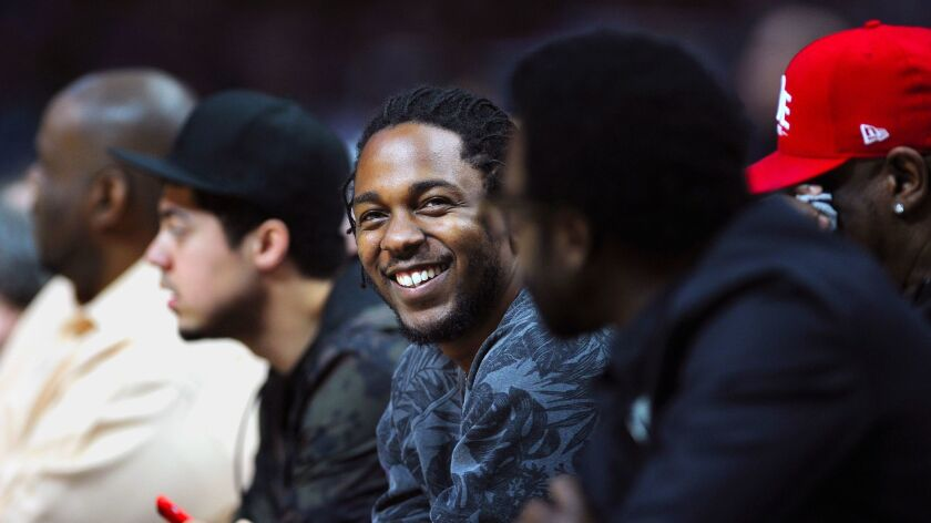 LOS ANGELES-CA-MARCH 13, 2016: Rapper Kendrick Lamar sits courtside at the Clippers vs. Cavaliers ga