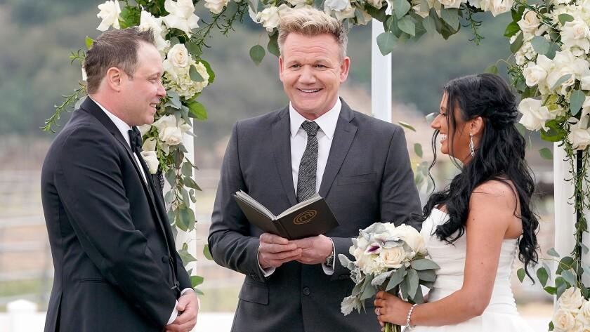 """MasterChef's"" Gordon Ramsay presides at the wedding of Season 7 winner Shaun O'Neale and bride Katie Provost, on Fox."