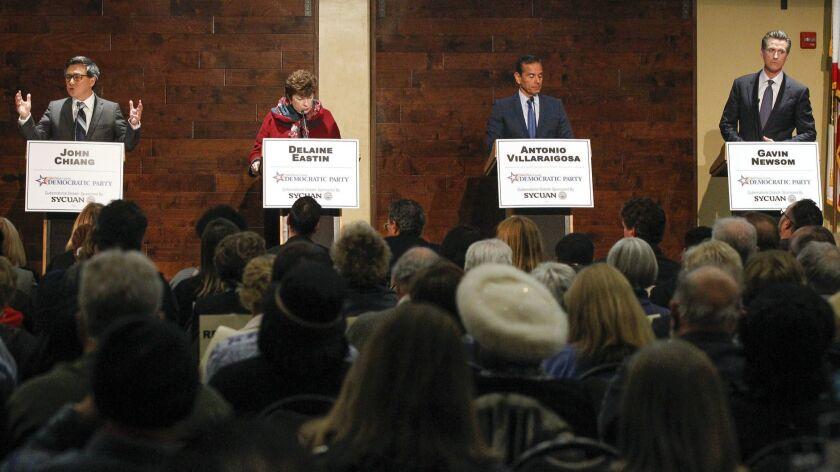 From left, John Chiang, Delaine Eastin, Antonio Villaraigosa and Gavin Newsom participate in the San Diego County Democratic Party's gubernatorial debate in February.
