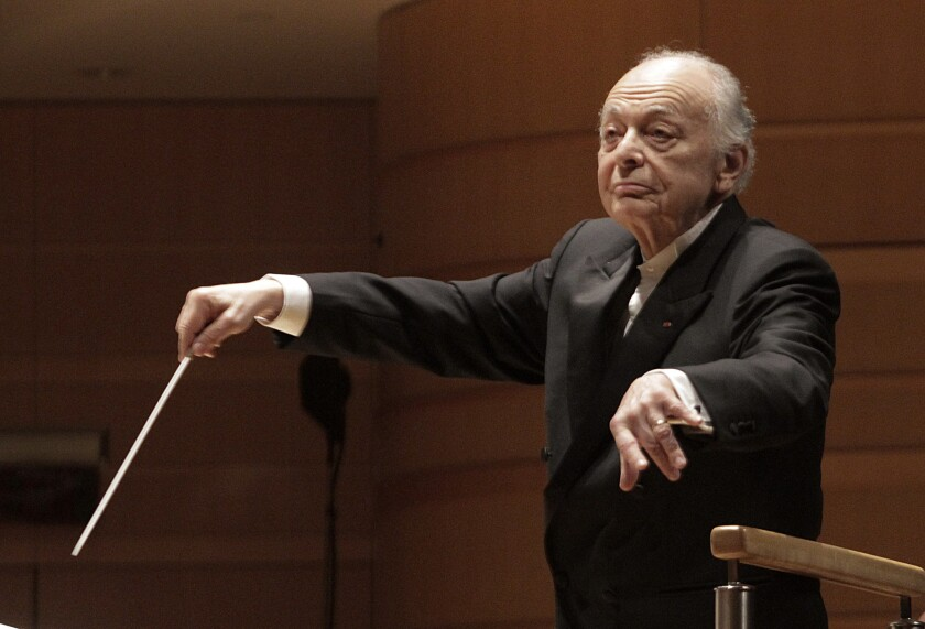 Lorin Maazel conducting the Vienna Philharmonic in a concert of Schubert and Mahler at the Renee and Henry Segerstrom Concert Hall in Costa Mesa on Mar. 3, 2014.