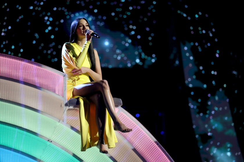 Kacey Musgraves performs at the 2019 iHeartRadio Music Awards.