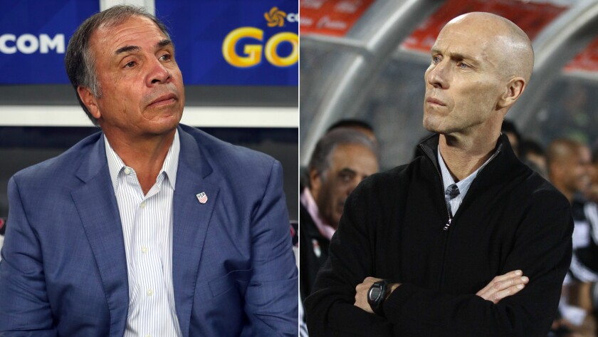 New England Revolution coach Bruce Arena, left, and LAFC coach Bob Bradley consider themselves both friends and rivals.