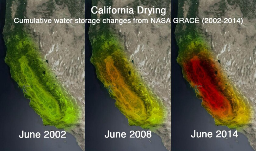 This series of satellite images illustrates the huge loss of groundwater in California.