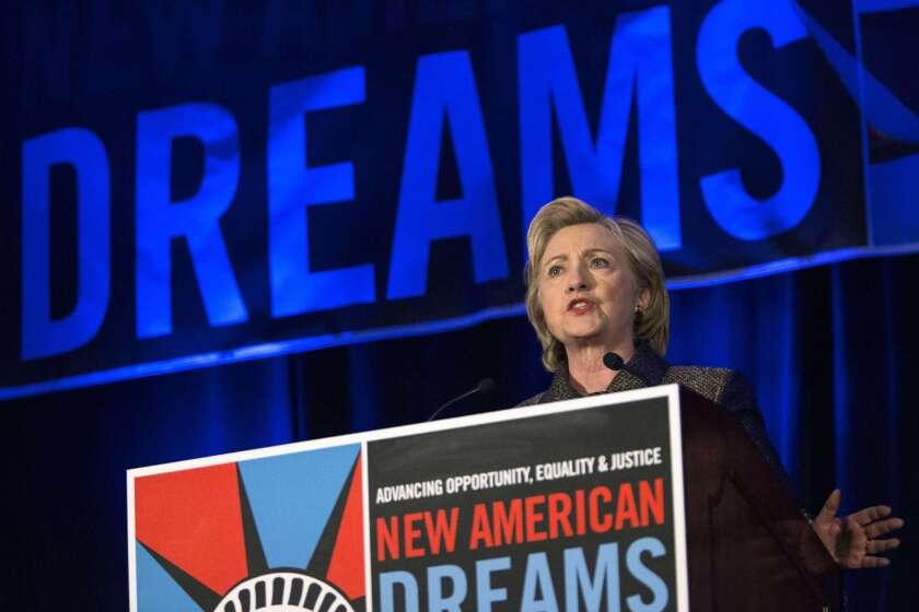 Hillary Clinton speaks in New York City.