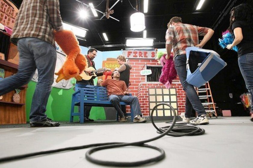 """Puppeteers and actors film """"Learning Town"""" at the new You Tube facilities in Playa Vista."""