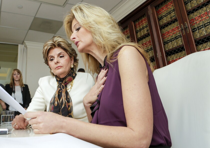 """Summer Zervos, right, who appeared on season 5 of """"The Apprentice,"""" said that Donald Trump made unwanted advances on her."""