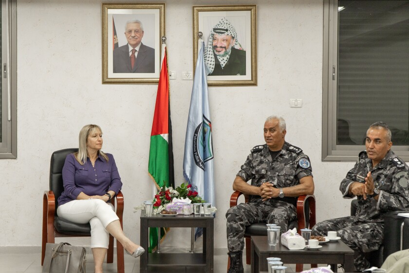Tammy Gillies, ADL San Diego, is shown with Colonel Zahar Shahaab of the Palestinian College of Police Sciences in Jericho.