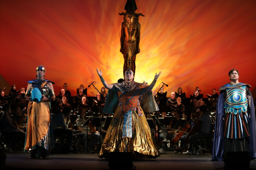 "Tenor Bernardo Bermudez, left, is the Messenger, bass Simon Lim is Ramfis, and tenor Carl Tanner is Radames in San Diego Opera's ""Aida,"" which opened the 2019-2020 season Saturday at the San Diego Civic Theatre."