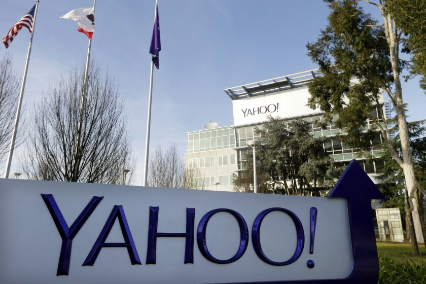 This Jan. 14, 2015 photo shows signage outside Yahoo's headquarters in Sunnyvale, Calif. Yahoo reports quarterly financial results on Tuesday, July 21, 2015. (AP Photo/Marcio Jose Sanchez)