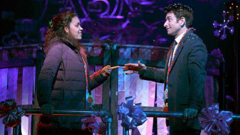 Barrett Doss as Rita and Andy Karl as Phil.